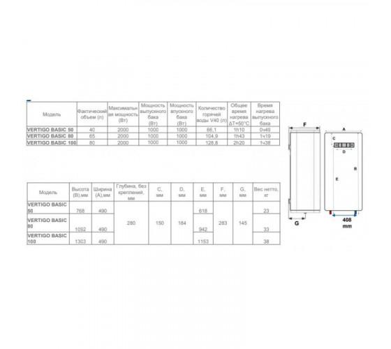 Бойлер ATLANTIC VERTIGO Basic 80 ES-VM0652F220F-B (2000W)